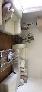 3 x2 seater + ottoman white Demir  leather sofa