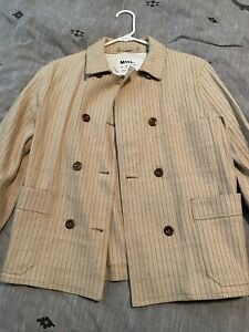 Margaret Howell Mhl Tan Striped Peacoat. Nwot. Size Xs. $550