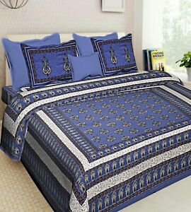 Indian Bedding King Size Double Bedsheet With 2 Zipper Pillow Covers  Set