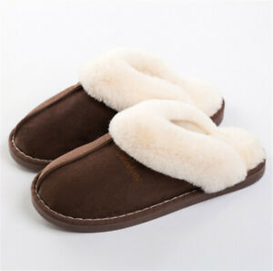 Warm Slippers Fur Lining Indoor Outdoor Winter Comfy House Slippers