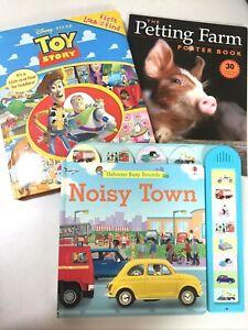 PreK Board Books: Toy Story First Look & Find, Usborne Noisy Town, Petting Farm