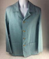 Agnona Mens Suit Jacket Blue Pockets Notch Lapel Single Vented 100% Linen 50