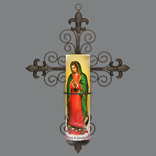 Virgin of Guadalupe LED Flameless Prayer Candle With Cross Sconce, 6 HR Timer