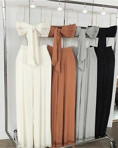 Womens Ladies 2 Piece Boob Tube Trousers Tie Knot Co-Ord Set Summer Fashion New