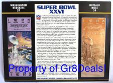 SUPER BOWL 26  REDSKINS vs BILLS ~ NFL 22 KT GOLD SB XXVI TICKET Willabee & Ward