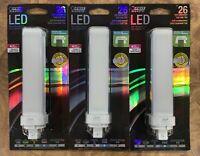 3 pack FEIT Electric 12 watts PL LED Bulb 1100 lumens Linear 26 Watt Equivalence