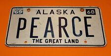 VERY RARE CUSTOM ALASKA LICENSE PLATE PEARCE THE GREAT LAND