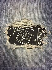 "Set of 2 Black Bandana 4"" x 4"" Iron on Peek-A-Boo Jean Patches"