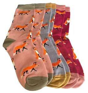 Fox Socks Ladies 3 Pair Pack Bamboo Cotton Foxes Pink Grey Burgundy Gift Idea