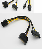 10x Dual 15 Pin SATA Male To PCIe 8 Pin (6+2) Male Video Card Power Supply Cable