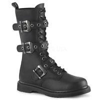 Demonia Men's Gothic Goth Punk Rock Biker Black Combat Boots Bolt-330