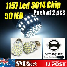 2 x Car LED BAY15D 1157 50SMD Dual Stop Brake Turn Park Signal Tail Lights White