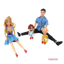 4Pcs Feliz Familia Barbie Top Papá Mamá Bebé Muñecas Juguetes Regalo
