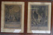 2x gr. franz. Grafiken, alt gerahmt/Glas, RG 45x34 cm, tw. stockfleckig