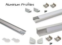 LED Aluminium Profile Straight Recessed Corner 1M + End caps, Mounting brackets