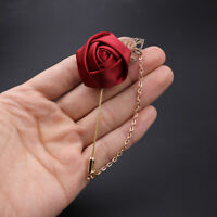 50 X Wedding Red Flower Gold Corsage Lapel Pin Brooch Chain Suits Collars Stick