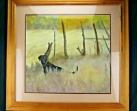 Vintage Watercolor Painting Black Lab Barb Wire Fence Hunting Dog Framed Under G