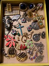 LOT BIJOUX ANCIENS VINTAGE Collier Broche Pendentif Boucles d'Oreille etc