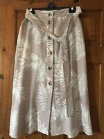 Primark Pink/White Leaf Print Button Front Linen Skirt Size 10