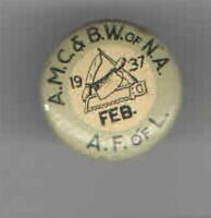 1937 LABOR UNION pin BUTCHER pinback #5
