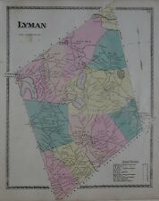 Original 1872 Map LYMAN York County Maine Shakers Schools Railroad Mills History
