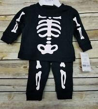 Carter's Skeleton Newborn 2 Piece Set Black White Bones Halloween Costume NWT