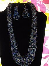 New Stylish Multicoloured Layered Chunky Beaded Beads Necklace and Earrings Set