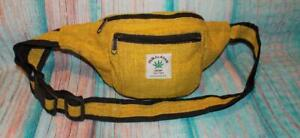 Fair Trade Belt Bum Bag Yellow Hemp Hippy Boho Travel Festival Hippie Hand Made