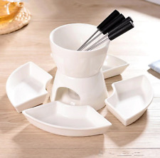 White Ceramic Chocolate Fondue Set Cheese Tealight Melting Pot Dipping Sauces