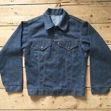 Rare Vintage 1970s Levis dark Indigo two pocket denim jacket Small orange tab