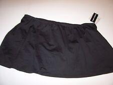 NEW 24th & Ocean solid black swimsuit swim suit bikini skirt bottom 18W 18 W