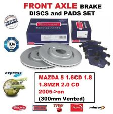 FOR MAZDA 5 1.6CD 1.8 1.8MZR 2.0 CD 2005->on FRONT AXLE BRAKE PADS + DISCS SET