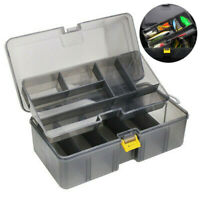 Large Fishing Tackle Box Lure Tray Bait Storage Organizer Plastic Dual Layer