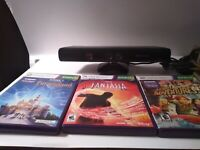 Microsoft Xbox 360 Kinect Motion Sensor Bar Bundle Kid Lot 3 Kinnect Video Games