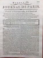 Rare Journal de la Révolution Française 1789 Journal de Paris Jura Mirabeau