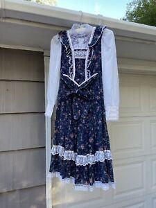 Vintage 70s Jessica's Gunne Sax Prairie Blue Floral Dress Sz XS
