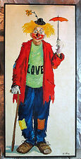 "Vintage Mae Sibley Clown - ""All Love & Sunshine"" Oil Painting - Signed Framed"