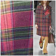 Close-Out Designer Plaid Tartan Wool Fabric Gucci Suiting By the Yard