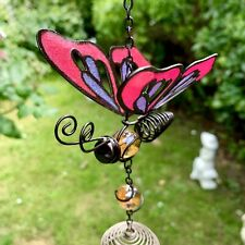 Butterfly Wind Chime Pink - Dimensions H69.5cm X W9.5cm X D5cm