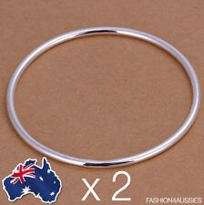 2 X 925 Sterling Silver Solid Thin Bangle Classic Women's 2mm Round Bracelet