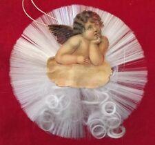 German Die-Cut Cherub Vtg Christmas Ornament Angel Antique W/ Radial Spun Glass