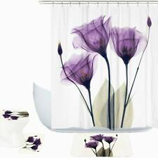 Fabric Shower Curtain Purple Tulip Flower Decor Toilet Cover Rugs Mat 4Pcs Set