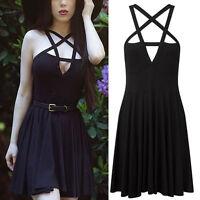 Womens Vintage Summer Black Crisscross Neckline Sleeveless Belt Party Min Dress