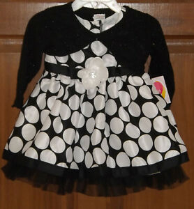 Youngland, Black & White special occasion outfit, size 12 months, NWT