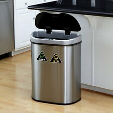 Nine Stars DZT-70-11 Touchless Stainless Steel 18.5 Gallon Home Recycling Trash