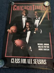 Chicago Times Poster Michael Jordan Walter Payton Dawson 36X24 Costacos Brothers