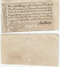Dec 1771 Two Shillings & Six Pence North Carolina Colonial Currency