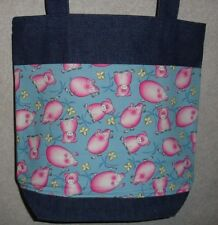 NEW Handmade Medium Pig Piggy on Blue Bkgd Denim Tote Bag