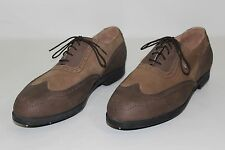 Ashworth Mens Sz 11.5 W Brown Leather Lace Up Wing Tip Metal Cleats Golf Shoes