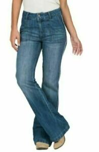 VOLCOM 7 NWT High RIse Waist Wide Leg Flare Flared Side Piped Jeans Retro 70s